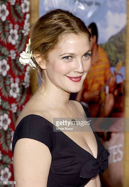 Actress Drew Barrymore arrives to the premiere for the motion picture '50 First Dates' at the Mann Village on February 3rd 2004 in Westwood California