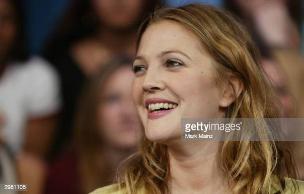 Actress Drew Barrymore attends a taping of MTV TRL on February 13 2004 at the MTV Studios in Time Square New York City