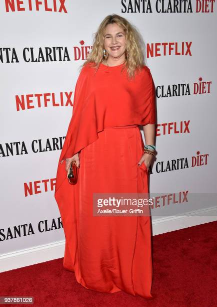 Actress Drew Barrymore attends Netflix's 'Santa Clarita Diet' season 2 premiere at The Dome at Arclight Hollywood on March 22 2018 in Hollywood...