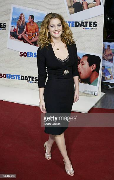 Actress Drew Barrymore attends the German premiere of '50 First Dates' at the CineStar theatre at Potsdamer Platz on April 19 2004 in Berlin Germany