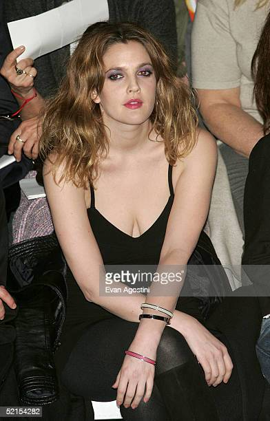 Actress Drew Barrymore attends the Marc Jacobs Fall 2005 show during Olympus Fashion Week at The Armory February 7, 2005 in New York City.