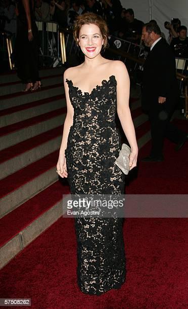 Actress Drew Barrymore attends the Metropolitan Museum of Art Costume Institute Benefit Gala Anglomania at the Metropolitan Museum of Art May 1 2006...
