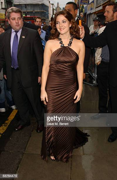 Actress Drew Barrymore attends the VIP Screening of 'The Perfect Catch' at The Electric Cinema on July 27 2005 in London England