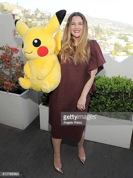 Actress Drew Barrymore attends Tracy Paul Co presents Pokemon Afternoon Soiree at Sunset Tower on February 27 2016 in West Hollywood California