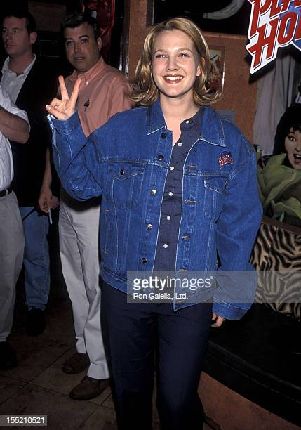 Actress Drew Barrymore donates glass slipper from 'Ever After' to Planet Hollywood on August 3 1998 at Planet Hollywood in New York City