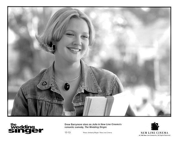 Actress Drew Barrymore On Set Of The Movie Wedding Singer Circa 1998