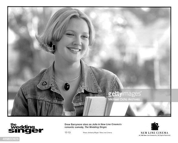 Actress Drew Barrymore on set of the movie 'The Wedding Singer' circa 1998