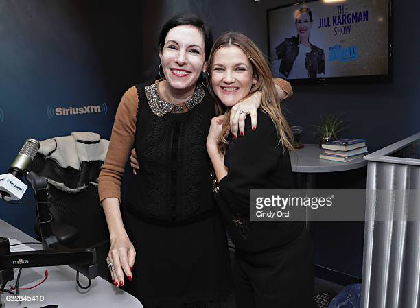 Actress Drew Barrymore poses for a photo with SiriusXM host Jill Kargman during a visit to the SiriusXM studio on January 27 2017 in New York City