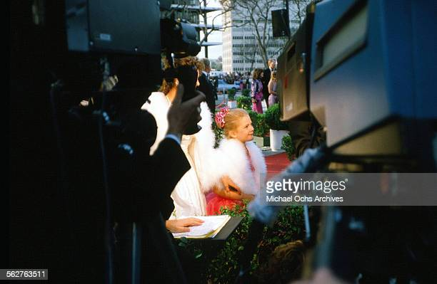 Actress Drew Barrymore with her mother Jade arrive to the 55th Academy Awards at Dorothy Chandler Pavilion in Los AngelesCalifornia