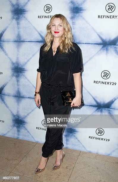 Actress Drew Barymore arrives at the Refinery29 Holiday Party at Sunset Tower Hotel on December 10 2014 in West Hollywood California