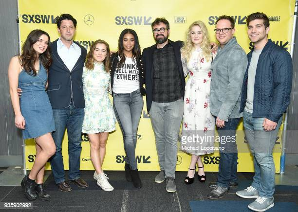 Actress Dylan Gelula producer Houston King actresses Haley Lu Richardson and Regina Hall director Andrew Bujalski actress AJ Michalka and producers...