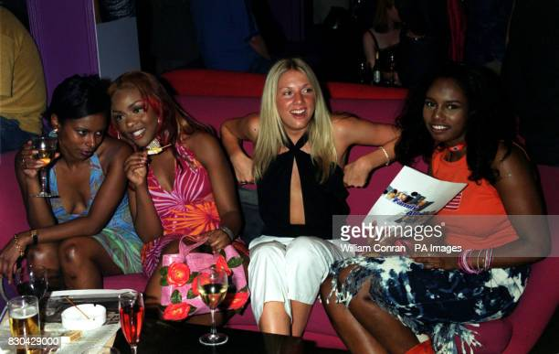 Actress Ebony Thomas who Plays 'Yasmin Matthews' with friends at Channel 5's Family Affairs celebrity party held at the Ten Rooms in London