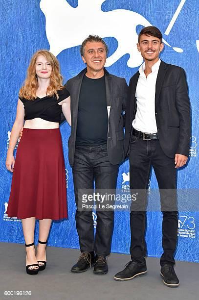 Actress Ecem Uzun, director Reha Erdem and actor Berke Karaer attend a photocall for 'Big Big World' during the 73rd Venice Film Festival at Palazzo...