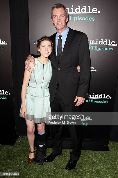 Actress Eden Sher and actor Neil Flynn attend ABC's The Middle 100th Episode Celebration at Spectra by Wolfgang Puck at the Pacific Design Center on...