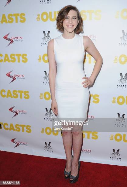 Actress Eden Sher arrives at the Los Angeles Premiere The Outcasts at Landmark Regent on April 13 2017 in Los Angeles California