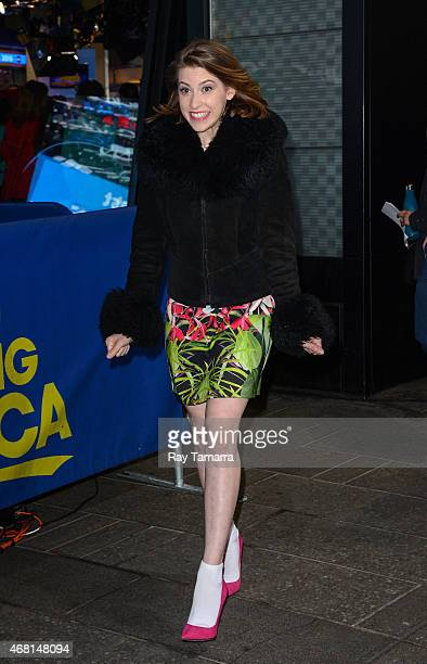 Actress Eden Sher enters the Good Morning America taping at the ABC Times Square Studios on March 30 2015 in New York City
