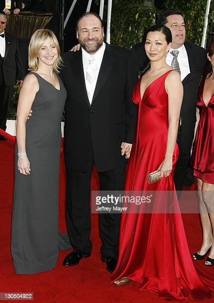 Actress Edie Falco actor James Gandolfini and fiancee Deborah Lin arrive to the 14th Annual Screen Actors Guild Awards at the Shrine Auditorium on...