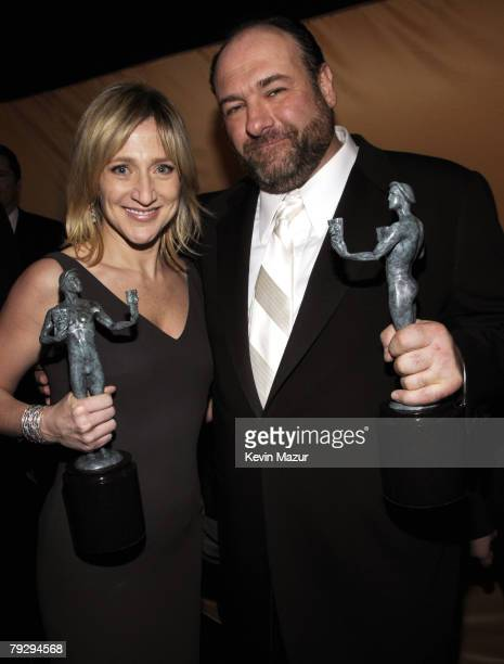 Actress Edie Falco and Actor James Gandolfini at the TNT/TBS broadcast of the 14th Annual Screen Actors Guild Awards at the Shrine Auditorium on...