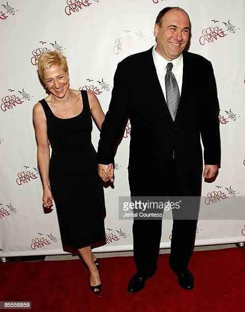 Actress Edie Falco and actor James Gandolfini attend the after party for the Broadway opening of God of Carnage at Espace on March 22 2009 in New...
