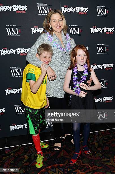 Actress Edie Falco and her children Anderson Falco and Macy Falco attend the The Angry Birds Movie New York Screening at Regal Cinemas Union Square...