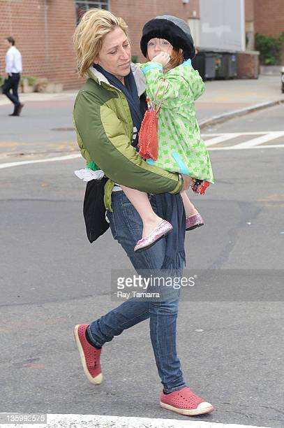 Actress Edie Falco and her daughter Macy Falco walk in Tribeca on December 15 2011 in New York City