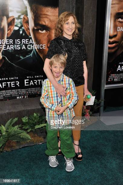 Actress Edie Falco and son Anderson Falco attend the After Earth premiere at the Ziegfeld Theater on May 29 2013 in New York City