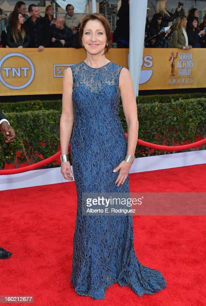 Actress Edie Falco arrives at the 19th Annual Screen Actors Guild Awards held at The Shrine Auditorium on January 27, 2013 in Los Angeles, California.