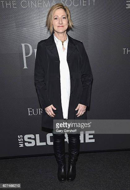 Actress Edie Falco attends The Cinema Society with Piaget host a screening of EuropaCorp's Miss Sloaneat SAGAFTRA Foundation Robin Williams Center on...