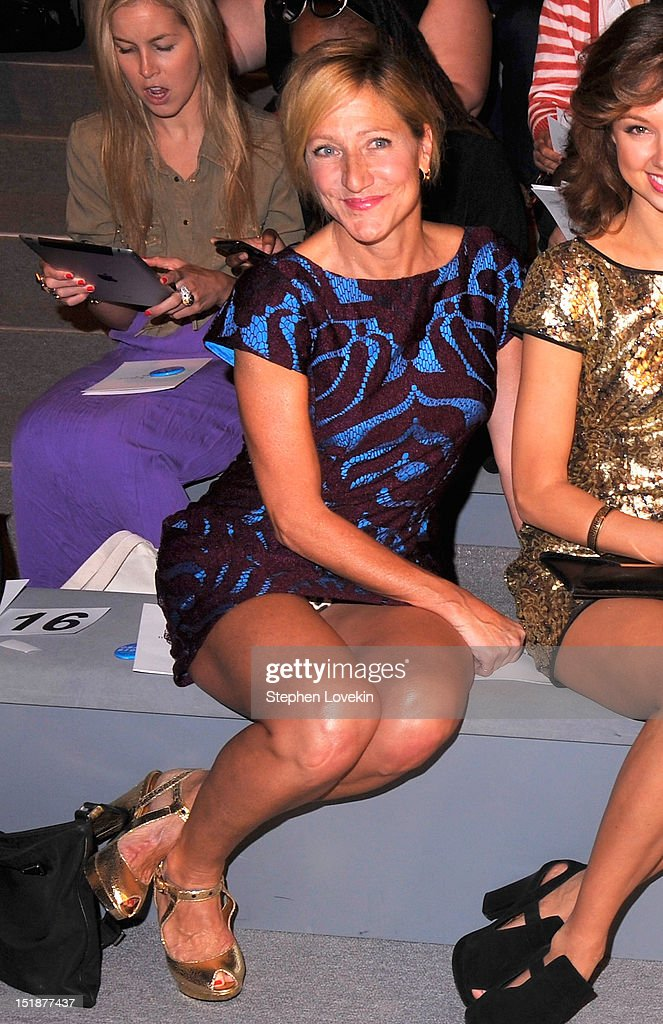 Actress Edie Falco attends the Nanette Lepore Spring 2013 fashion show during Mercedes-Benz Fashion Week at The Stage Lincoln Center on September 12, 2012 in New York City.
