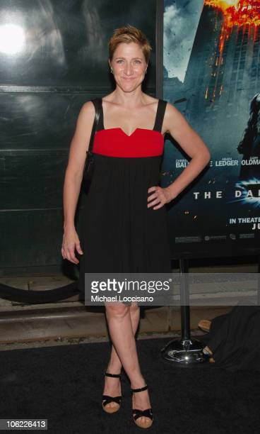 """Actress Edie Falco attends the """"The Dark Knight"""" premiere at the AMC Loews Lincoln Square theater on July 14, 2008 in New York City."""