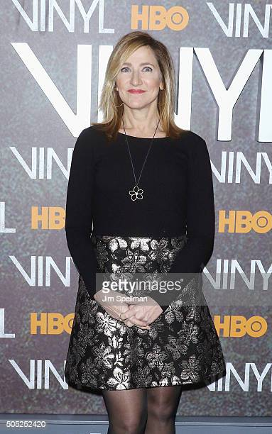 Actress Edie Falco attends the 'Vinyl' New York premiere at Ziegfeld Theatre on January 15 2016 in New York City
