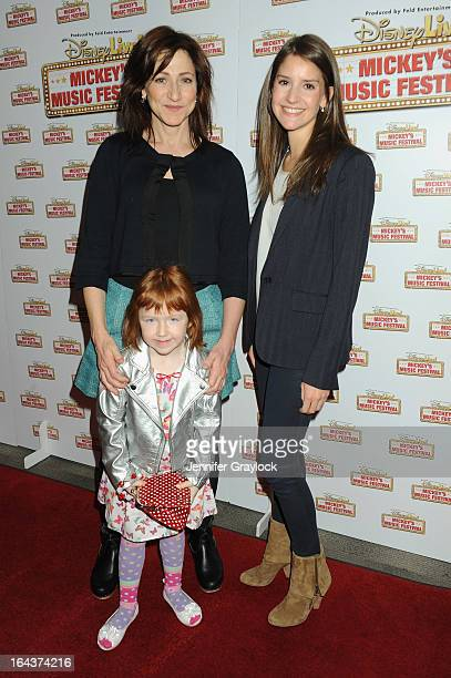 Actress Edie Falco Macy Falco and producer Alana Feld attend Disney Live Mickey's Music Festival at Madison Square Garden on March 23 2013 in New...
