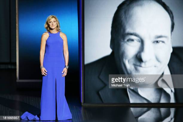 Actress Edie Falco pays tribute to the late James Gandolfini onstage during the 65th Annual Primetime Emmy Awards held at Nokia Theatre LA Live on...
