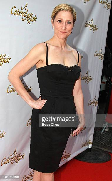 Actress Edie Falco poses at The Arrivals for The Opening Night of The New Musical A Catered Affair on Broadway at The Walter Kerr Theater on April 17...
