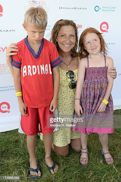 Actress Edie Falco poses with Anderson Falco and Macy Falco at the Ovarian Cancer Research Fund's 16th Annual Super Saturday hosted by Kelly Ripa and...