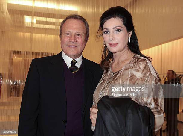 Actress Edwige Fenech and Sergio Valente attend L'Arte Nell'Uovo Di Pasqua Charity Event at the White Gallery on March 24 2010 in Rome Italy