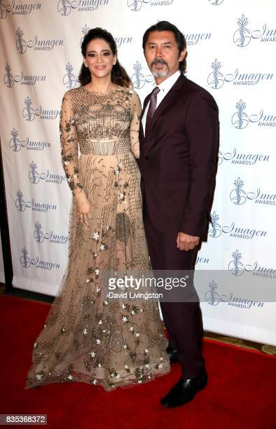 Actress Edy Ganem and actor Lou Diamond Phillips attend the 32nd Annual Imagen Awards at the Beverly Wilshire Four Seasons Hotel on August 18 2017 in...