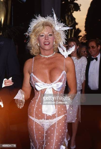 Actress Edy Williams attends the Academy Awards in March 1990 in Los Angeles California
