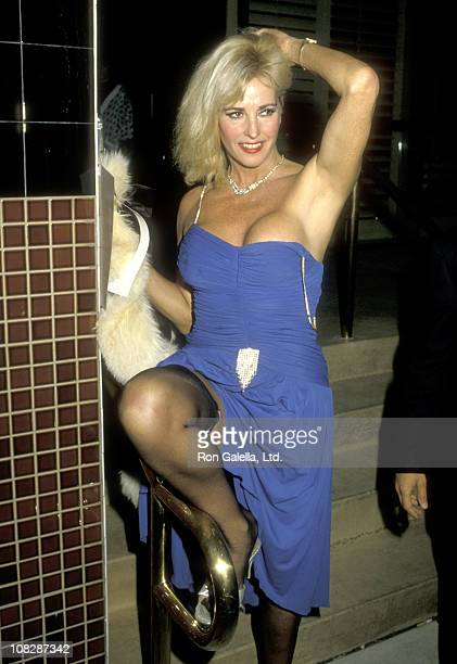 Actress Edy Williams on February 22 1986 dining at Nicky Blair's Restaurant in Hollywood California