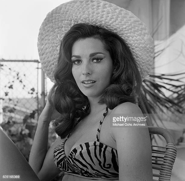Actress Edy Williams poses in her bathing suit at home in Los AngelesCA
