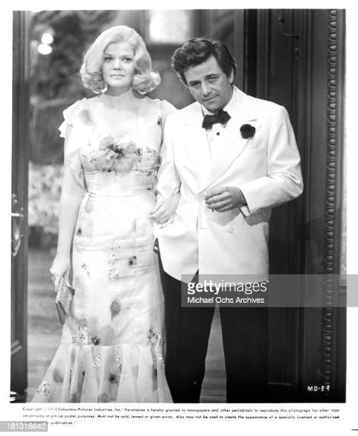 Actress Eileen Brennan and actor Peter Falk on the set of Columbia Pictures movie Murder by Death in 1976