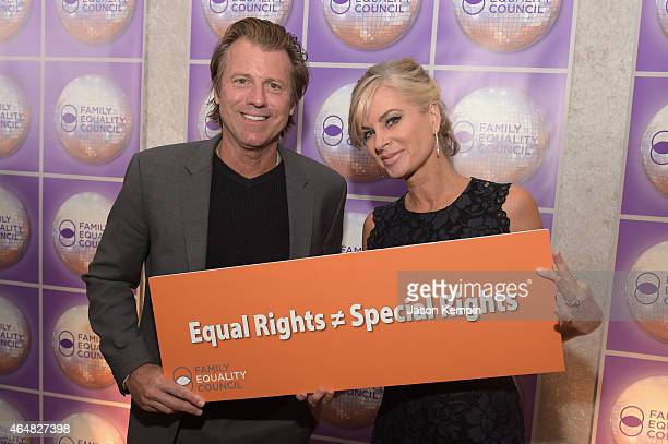 Actress Eileen Davidson and Vincent Van Patten attend the Family Equality Council's 2015 Los Angeles Awards dinner at The Beverly Hilton Hotel on...