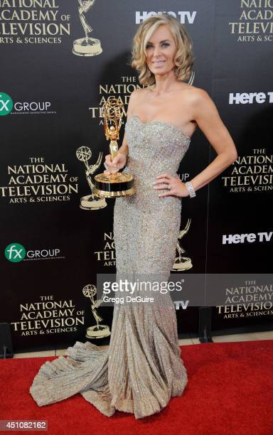Actress Eileen Davidson poses in the press room at the 41st Annual Daytime Emmy Awards at The Beverly Hilton Hotel on June 22 2014 in Beverly Hills...