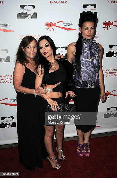 Actress Eileen Dietz producer Kim Durham and actress Alexis Iacono arrive for the Screening of LA Slasher as part of the Independent Filmmakers...