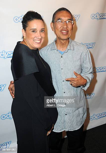 Actress Eileen Galindo and writer Henry Ong arrive for the Reading Of 'The Blade Of Jealousy/La Celsa De Misma' held at The Odyssey Theatre on August...