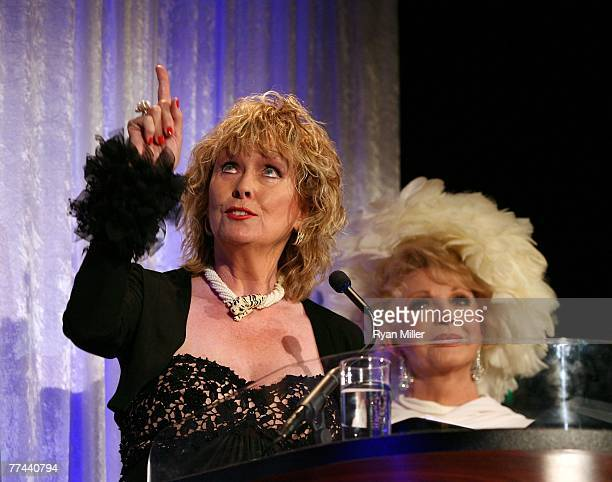 Actress Eileen O'Neill speaks with Presenter Ruta Lee during the Thalians 52nd Anniversary Gala honoring Sir Roger Moore to raise funds for the...