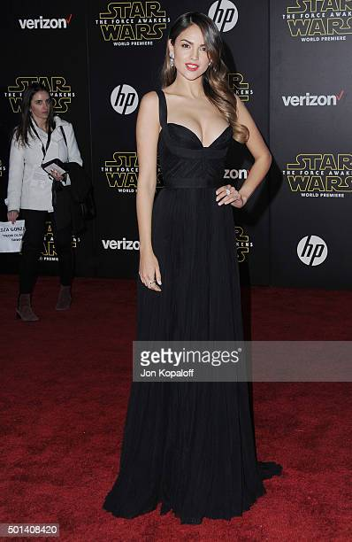 Actress Eiza Gonzalez arrives at the Los Angeles Premiere Star Wars The Force Awakens on December 14 2015 in Hollywood California