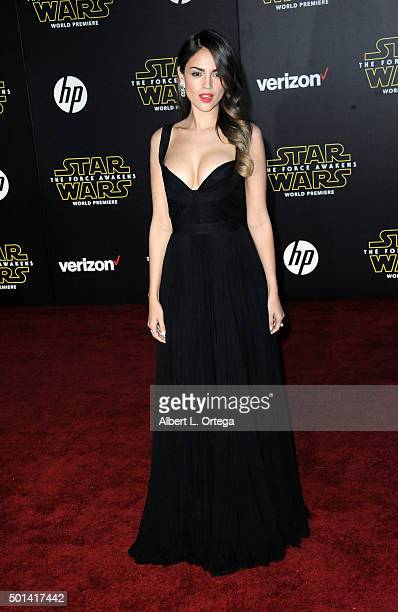 Actress Eiza Gonzalez arrives for the Premiere Of Walt Disney Pictures And Lucasfilm's Star Wars The Force Awakens held on December 14 2015 in...