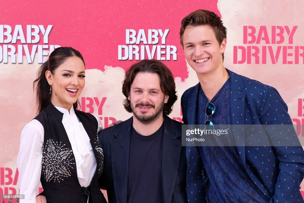 Actress Eiza Gonzalez, director Edgar Wright and actor Ansel Elgort attends a photocall for 'Baby Driver' at the Villa Magna Hotel on June 23, 2017 in Madrid, Spain