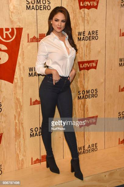 Actress Eiza Gonzalez is seen arriving at the red carpet for opening of the store Levi's in the Historic Center of the City of mexico on March 22...